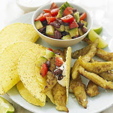 Curried Fish Tacos With Bean Salad
