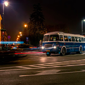 Old bus by Jim Cunningham - Transportation Automobiles ( lights, old, bus, street, night, town )