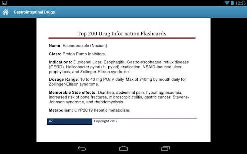 Drug Information Flash Cards - screenshot