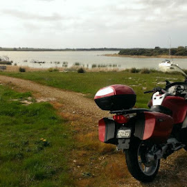 First long ride to get acquainted - this is Clayton Bay, part of Lake Alexandrina, which the Murray River flows into.  Beautiful spot. by John McLelland - Transportation Motorcycles