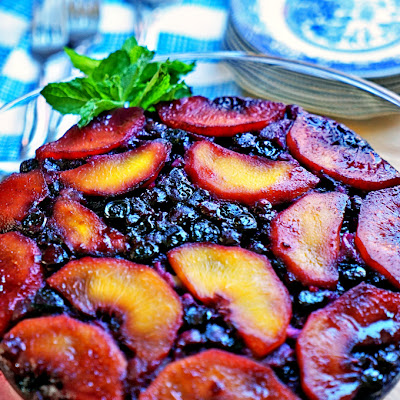 Blueberry Peach Upside-Down Cake