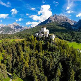Castel tarasp- Switzerland by Vinicio Guedes - Landscapes Mountains & Hills ( sky, blue, trees, switzerland, blur )