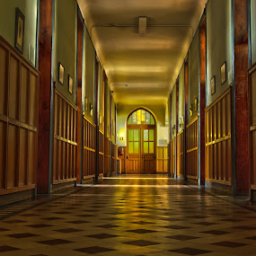 old school by Gerd Moors - Buildings & Architecture Other Interior ( detail, old, wood, floor, hdr, shadow, door, hallway, light,  )