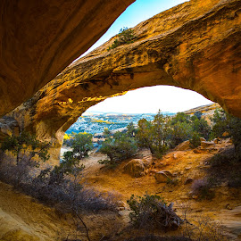 by Tyler Gudmundsen - Landscapes Deserts ( desert, arch, utah, sunset, moonshine arch, northern utah, golden hour )