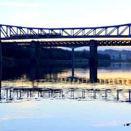 sleeping river by Paul Pirie - Buildings & Architecture Bridges & Suspended Structures ( water, reflection, train, bridge, dusk, river )