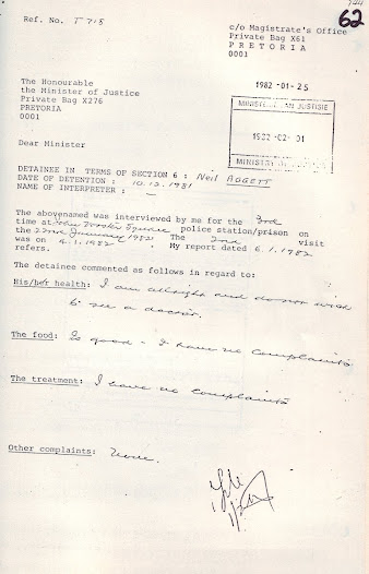 Report on Neil Aggett to the Minister of Justice, completed and signed by the Inspector of Detainees on 25 January 1982, less that two weeks prior to his death in detention.