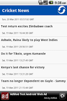 Screenshot of Cricket News