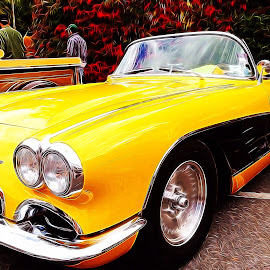 Car Art by Chris Winner - Transportation Automobiles ( #car #corvette #art #yellow )