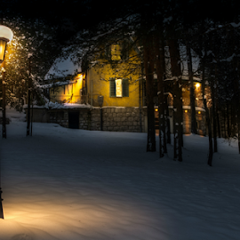 night by Branislav Rupar - Buildings & Architecture Other Exteriors ( forests, street lighting, windows, heat, smoke, mountains, winter, cold, snow, sigma 24-70, nikon d600, light, whiteness )