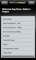 Screenshot of NoteVault daily reporting app