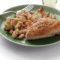 Roast Chicken with Cauliflower and White Beans
