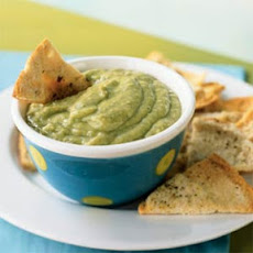 Avocado-Tomatillo Dip with Cumin Pita Chips