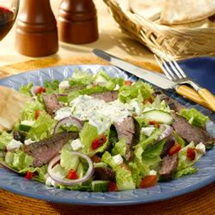 Gyro Steak Salad (with Tzatziki dressing)