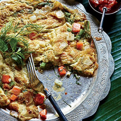 Lao Omelet with Dill, Scallion and Thai Chile