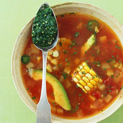 Mexican Fiesta Soup with Roasted Tomatillo and Cilantro Pesto