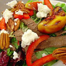 Steak Salad With Grilled Peaches