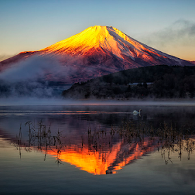 Red Fuji by Nyoman Sundra - Landscapes Mountains & Hills ( mountain, fuji, lake, sunrise, landscape,  )