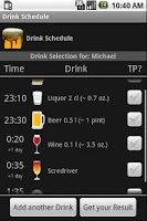Screenshot of Drink Schedule