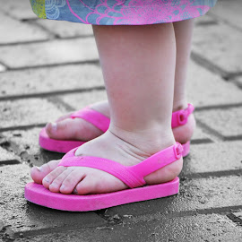 Feetsies. by Kallie Snyder - Babies & Children Hands & Feet ( idaho, water, park, baby feet, fountain, baby girl, feet, summer, hot, pink,  )