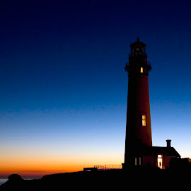 Pigeon Point Light at dusk. by Gale Perry - Landscapes Waterscapes (  )