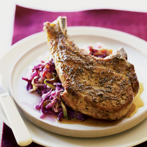 Pork Chops with Fresh Green and Red Cabbage