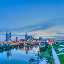 Nashville Skyline by Devin Williams - City,  Street & Park  Skylines ( tn, skyline, music city, nashville, reflections, downtown )
