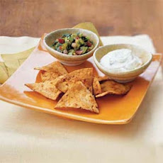 Adobo Chips with Warm Goat Cheese and Cilantro Salsa