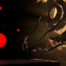 The Man vs. The Machine by Lux Aeterna - Illustration Sci Fi & Fantasy