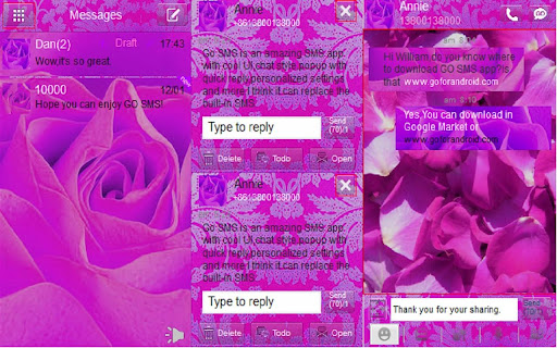 Go Sms Theme Pink Rose
