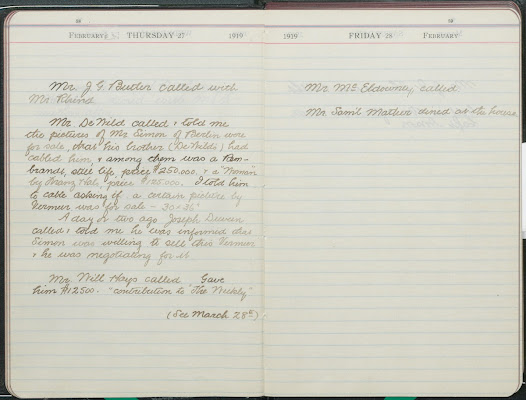 Of all the above acquisitions, only the final one, <i>Mistress and Maid</i>, was purchased while Frick lived at One East 70th Street, now home to The Frick Collection. Diaries maintained by Frick's secretary at that house tell the story of Frick's pursuit of the painting, which began in late February 1919.