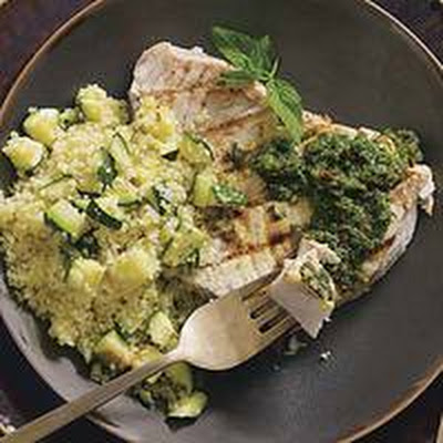 Grilled Fish with Moroccan Chermoula Sauce and Zucchini Couscous