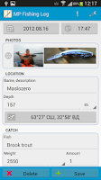 Screenshot of MP Fishing Log