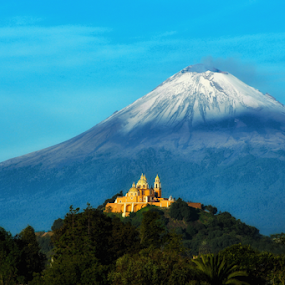 Church and snowy volcano by Cristobal Garciaferro Rubio - Landscapes Mountains & Hills