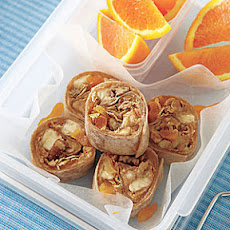 Peanut Butter, Banana and Granola Wraps