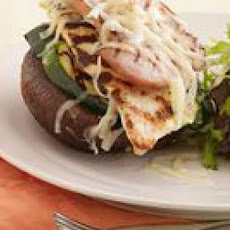 Grilled Chicken Cordon Bleu Portobello Stacks