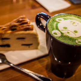 Beary Beary Green Tea Latte. by Justine Tsubaki - Food & Drink Alcohol & Drinks
