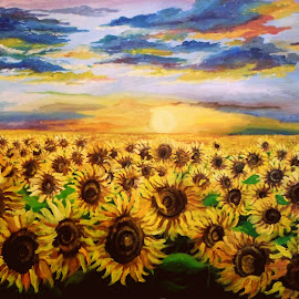 sunflower field by Livia Copaceanu - Painting All Painting