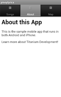 Titanium Workshop Lyrics App - screenshot