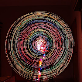 Wheel on the Bus go round and round and round by Asim Adnan Eijaz - Abstract Light Painting ( lights, light painting, led, dark, light trails, round, long exposure, circle, light )