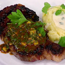 Grilled Rib Eye Steak with Mango Chimichurri