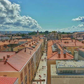 Zadar birds eye view from the church tower by Matthew Wheldon - City,  Street & Park  Vistas ( zadarr, bird's-eye vieww, croatia )