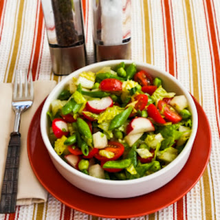 Chopped Salad Recipe with Sugar Snap Peas, Jicama, Radishes, Tomatoes, and Green Garbanzo Beans