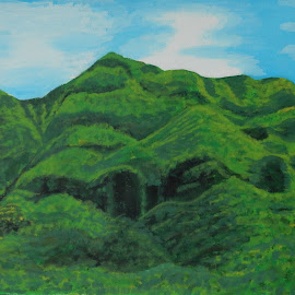 Strength by Nietu PM - Painting All Painting ( mountain, green, big green mountain, acrylic, landscape )