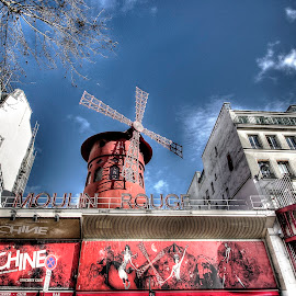 Moulin Rouge by Ben Hodges - Buildings & Architecture Public & Historical ( paris, hdr, montmartre, cancan, france, travel, windmill, moulin rouge )