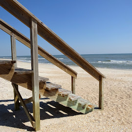 Beach stairs by Judy Dean - Novices Only Landscapes ( stairs, landing, wood, pier, ocean, beach,  )