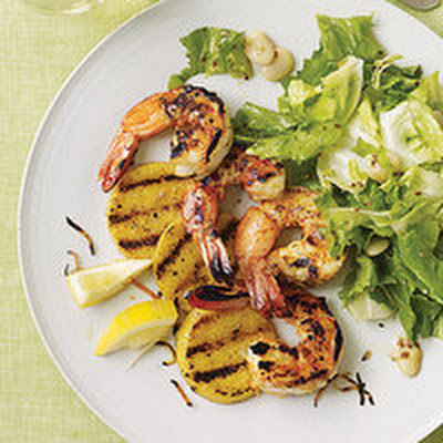 "Grilled Shrimp and ""Grits"" with Spicy Salad"