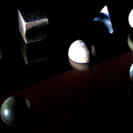 Geometric Shapes by Patti (George) Larcher - Abstract Macro ( abstract, macro, dark background, geometric, shapes )