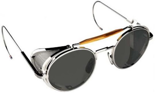 retro glasses with metal blinkers