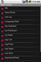 Screenshot of Gym Tracker