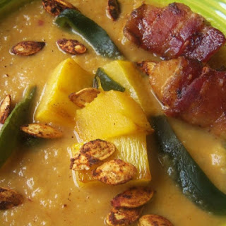 Roasted Pumpkin-Chipotle Soup with Bacon-Wrapped Scallops